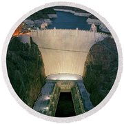 Elevated View At Dusk Of Hoover Dam Round Beach Towel
