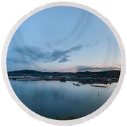Elevated View Of A Harbor At Sunset Round Beach Towel