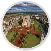 Elevated View Of Ave Maria Oratory Round Beach Towel