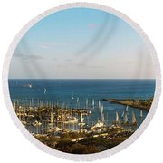 Elevated View Of Boats At A Harbor Round Beach Towel