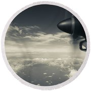 Elevated View Of Caribbean Sea Round Beach Towel