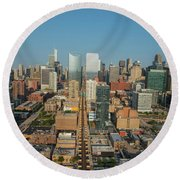 Elevated View Of Cityscape, Lake Street Round Beach Towel