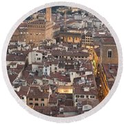 Elevated View Of Florence Round Beach Towel