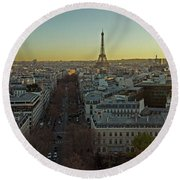 Elevated View Of Paris From Arc De Round Beach Towel