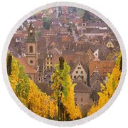 Elevated View Of The Riquewihr Round Beach Towel