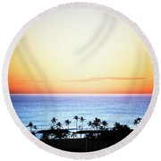 Elevated View Of The Sunset Round Beach Towel