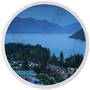 Elevated View Of Town At Dawn Round Beach Towel
