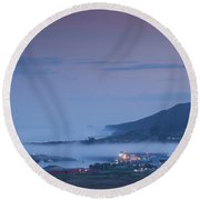 Elevated View Of Town Covered With Fog Round Beach Towel