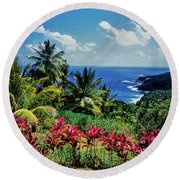 Elevated View Of Trees And Plants Round Beach Towel
