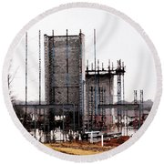 Elevator Going Up Round Beach Towel