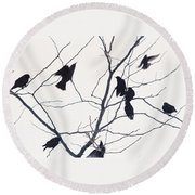 Eleven Birds One Morsel Round Beach Towel