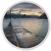 Elgol Pier And Boats With Cuillin Round Beach Towel