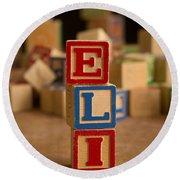 Eli - Alphabet Blocks Round Beach Towel