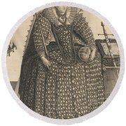 Elizabeth, Queen Of England, C.1603 Round Beach Towel
