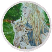 Elizabeth South And Ginger Round Beach Towel