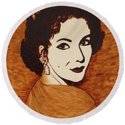 Elizabeth Taylor Original Coffee Painting On Paper Round Beach Towel