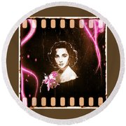 Elizabeth Taylor - Pink Film Round Beach Towel by Absinthe Art By Michelle LeAnn Scott