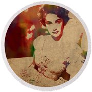 Elizabeth Taylor Watercolor Portrait On Worn Distressed Canvas Round Beach Towel by Design Turnpike