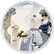 Elizabethan England Round Beach Towel by Georges Barbier