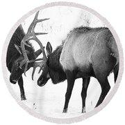 Elk Fighting Black And White Round Beach Towel