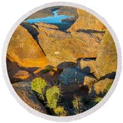 Elk Mountain Sunset Round Beach Towel