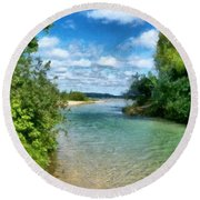 Elk River- Elk Rapids Michigan Round Beach Towel