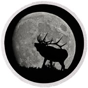 Elk Silhouette On Moon Round Beach Towel