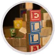 Ella - Alphabet Blocks Round Beach Towel