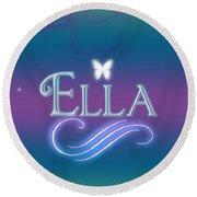 Ella Name Art Round Beach Towel