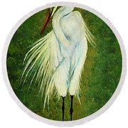 Ellie Egret Round Beach Towel by Adele Moscaritolo