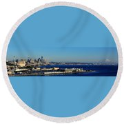 Elliot Bay Panorama Round Beach Towel