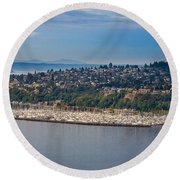 Elliott Bay Marina Round Beach Towel