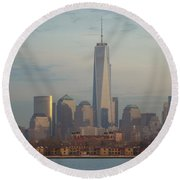 Ellis Island And The Freedom Tower Round Beach Towel