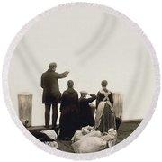 Ellis Island Immigrants Round Beach Towel