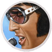 Elvis 24 1970 Round Beach Towel