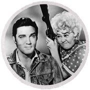 Elvis And Joan Round Beach Towel