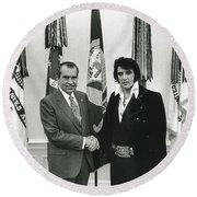 Elvis And Nixon Round Beach Towel