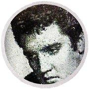Elvis Love Me Tender Mosaic Round Beach Towel