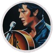 Elvis Presley 3 Painting Round Beach Towel