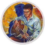 Elvis Presley- Shadow Duet Round Beach Towel