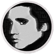 Elvis Presley Silhouette On Black Round Beach Towel