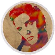 Elvis Presley Watercolor Portrait On Worn Distressed Canvas Round Beach Towel