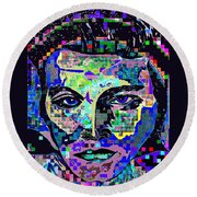 Elvis The King Abstract Round Beach Towel