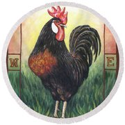 Elvis The Rooster Round Beach Towel