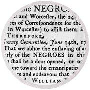 Emancipation Notice, 1775 Round Beach Towel
