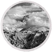 Embraced By Clouds Black And White Round Beach Towel