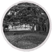 Embraced By Trees Round Beach Towel