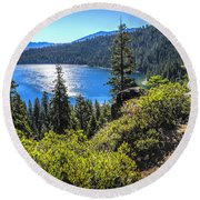Emerald Bay Lake Tahoe California Round Beach Towel