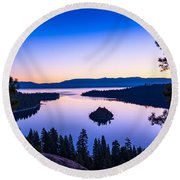 Emerald Bay Sunrise Round Beach Towel