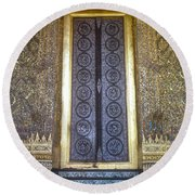 Emerald Buddha Temple Door Round Beach Towel